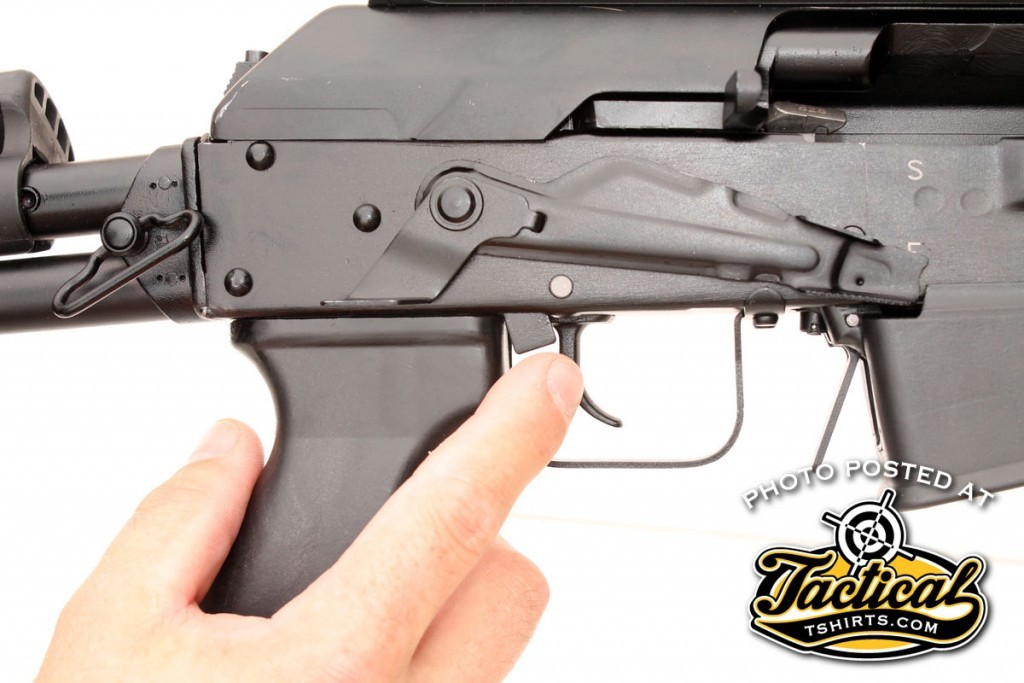 Once broken in, the extended safety lever is easily swept up into the fire position with your trigger finger.