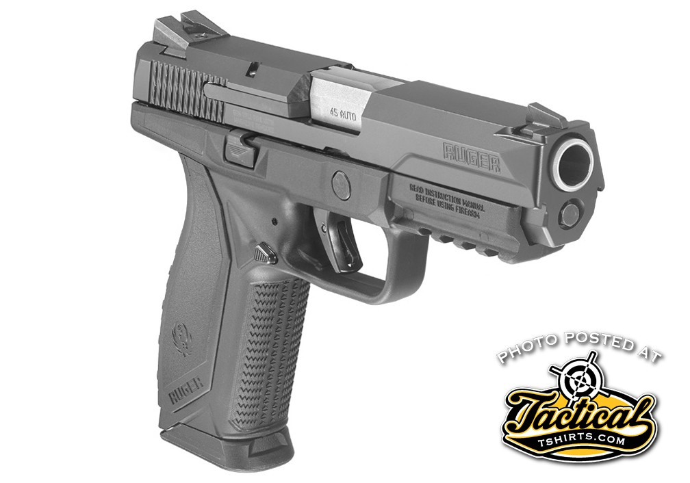 Chasis: American pistol features include a barrel cam that Ruger claims reduces felt recoil, a low mass slide, low center of gravity and a low bore axis.