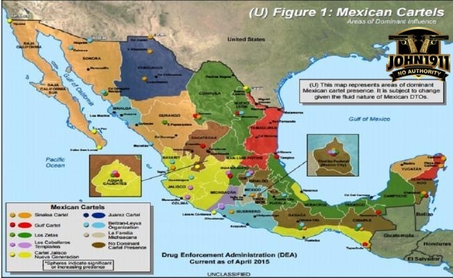General breakdown of Cartel territory in Mexico. This changes monthly.
