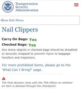 TSA Clipper regulations.