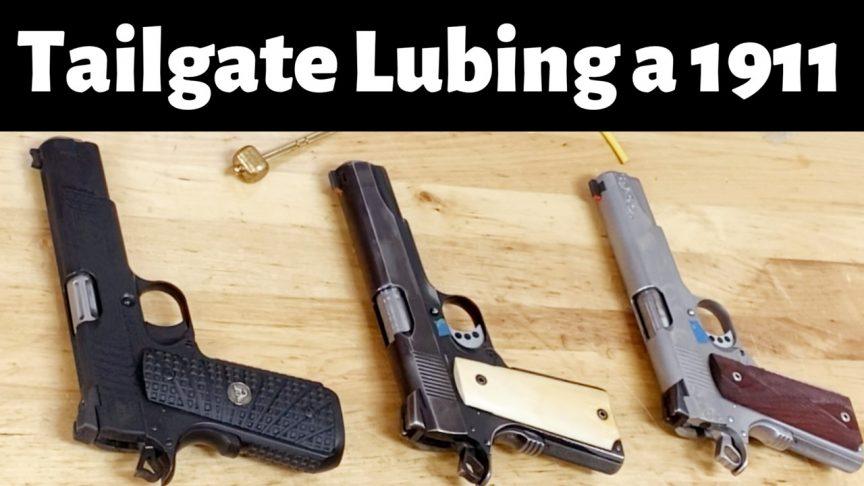 Lubing 1911 for gun school.