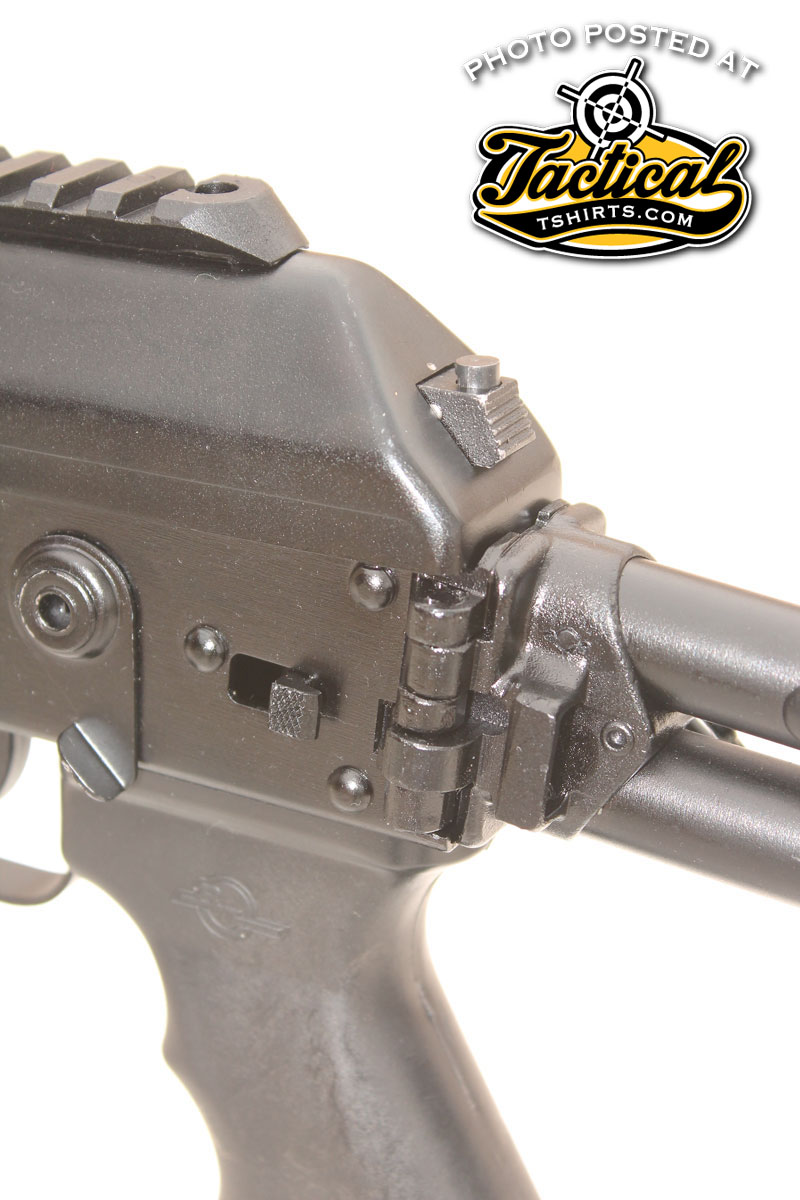 While the folding stock mechanism is all in place, it's welded in the open position because of import restrictions.