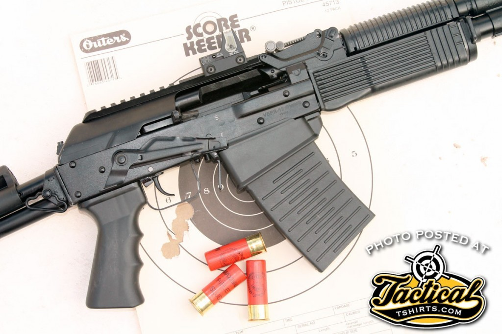 With Foster-style slugs, the Vepr-12 shot groups that were essentially one big, ragged hole at 25 yards.