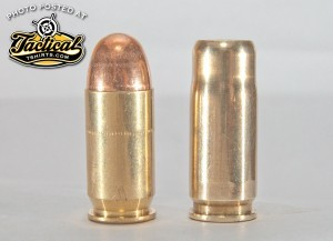 The .45 ACP shotshell (r.) has the basic profile of .45 ACP Ball (l.) to increase the chances it will cycle through a semi-auto.