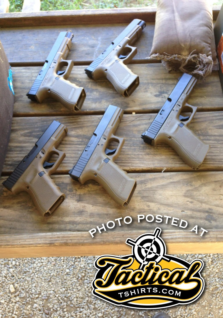 Glock GEN 4's FDE Lined Up for Zeroing.