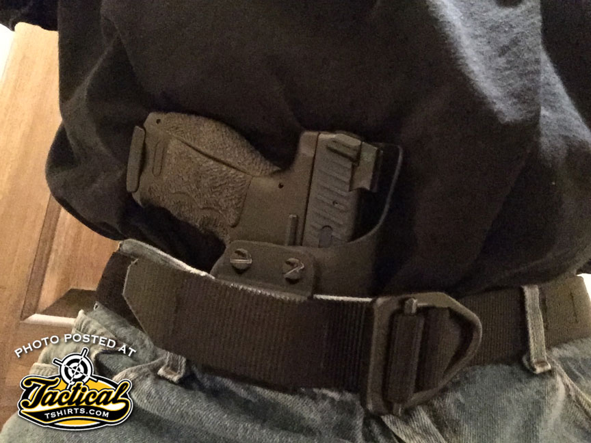 Holster and pistol author is wearing while typing this at home.