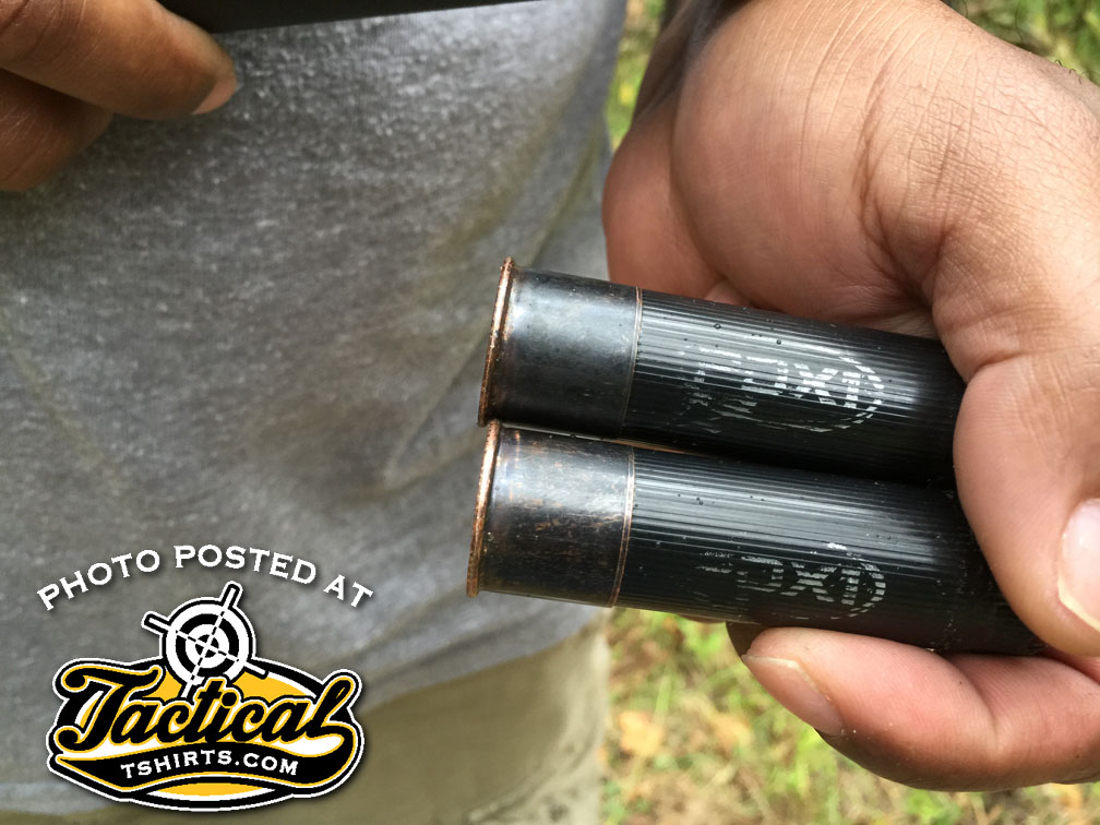 Owner of 500 holding the PDX Ammo Hulls I just fired in his shotgun.