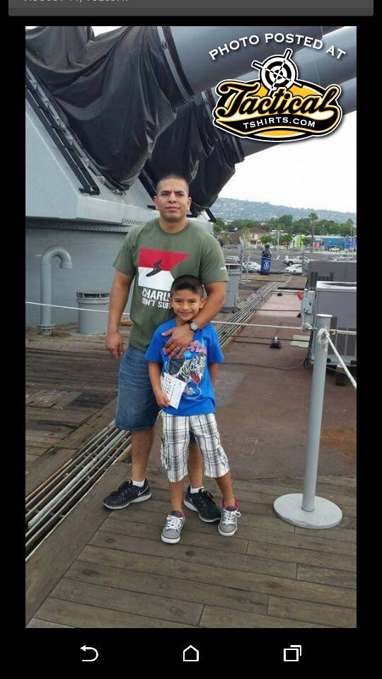 Father & Son at US Navy Museum. Charlie Don't Surf!