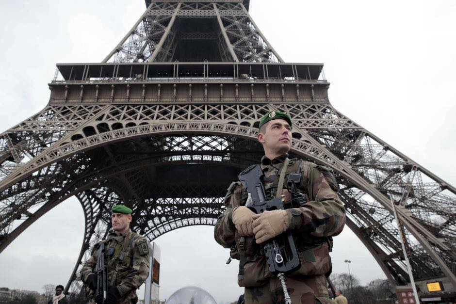 French Soldier Eiffel Tower