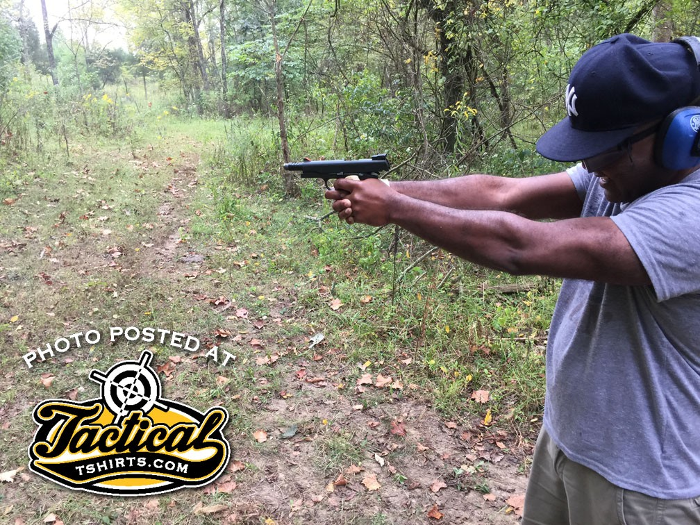 First time he's ever held a 1911.