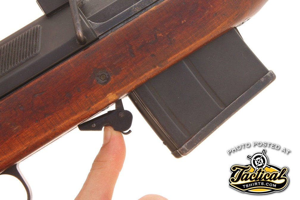 The 10-round, detachable box magazine is retained very much like that of an AK47