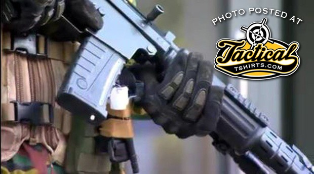 Up close look of FNC on streets. Can see the rail upgrade and unusual magazine make.
