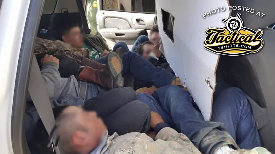 Illegals found inside a fake US Border Patrol vehicle.