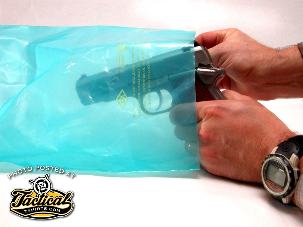When a gun is stored for extended periods of time it should be thoroughly cleaned, degreased and treated with a rust preventative. If it cannot be kept in an open and humidity-controlled environment, the next best thing is a bag treated with vapor corrosion inhibitor.
