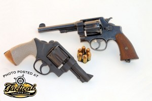 The S&W Model 1917 (top) and Model 1937 are basically the same gun revolver chambered for the .45 ACP cartridge. This Model 1937 is heavily modified.