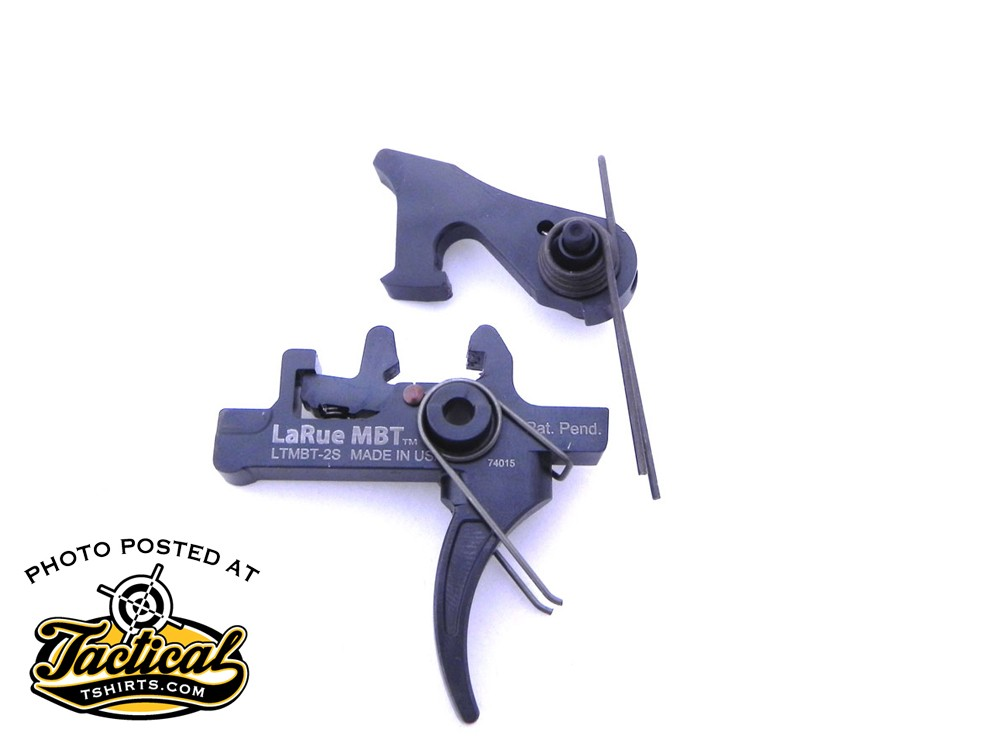 The LaRue MBT 2-stage triggers are hand-made out of solid S7 tool steel plates.