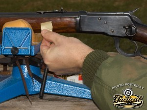 If your pedestal does not have a forend stop or the gun will not work with it, use a piece of tape to mark the stock so you return the gun to the same place in the bags for each shot.