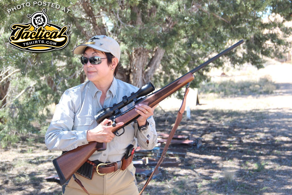 """Gunstie instructor Il Ling New covered everything from the basic """"keep your finger off the trigger"""" to live firing with a charging bear target."""