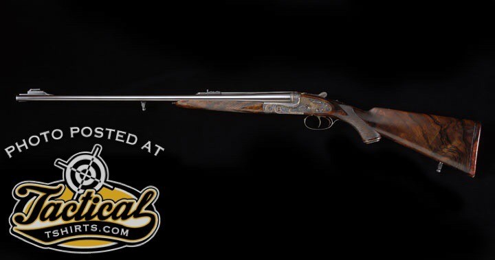 H&H royal double: Double rifles such as this Holland & Holland Royal are now made to take the .375 H&H cartridge instead of the .375 H&H Flanged.