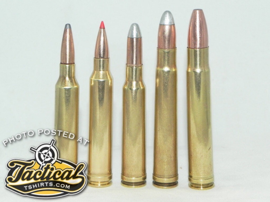 When it comes to belted cartridges, most can trace their lineage back to the .375 H&H including (left to right) 7mm Rem. Mag., .300 Win. Mag., .338 Win. Mag., .375 H&H, and .416 Rem. Mag.