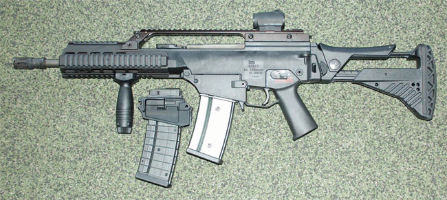 G36 can take both HK or STANAG magazines.