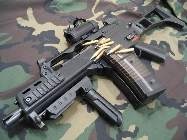 G36 Shorty I believe called a G36c? Easily could be brought in as a pistol?