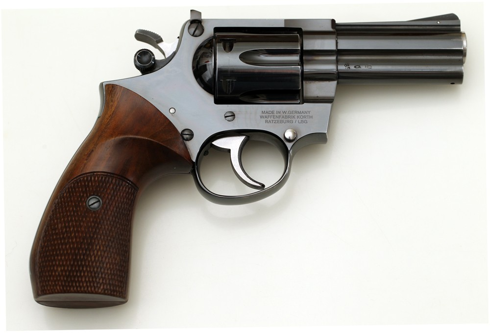 The standard Korth revolver. Notice the cylinder release by the hammer.
