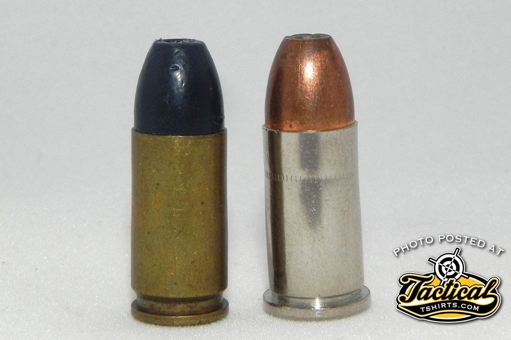 The 9mm Federal revolver cartridge (right) is a rimmed version of the 9mm Luger pistol cartridge (left).