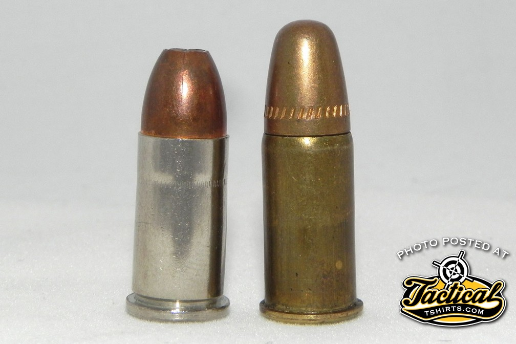 Unfortunately, the 9mm Federal (left) is so close to the old .38 S&W (right) that a potentially dangerous situation exists.