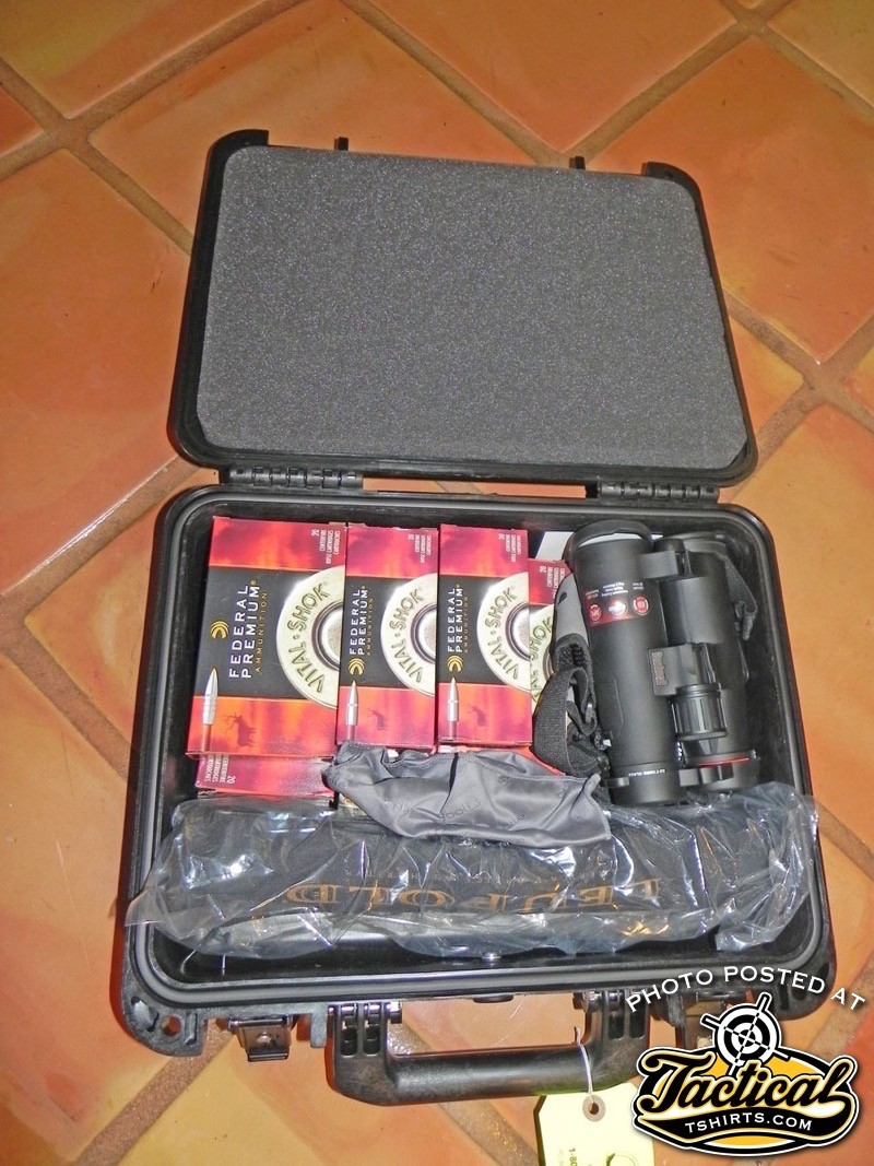 Since Scott had to carry his ammunition in a locked, hard-sided case, he used a large one to also carry optics and other equipment that was delicate or of high value.