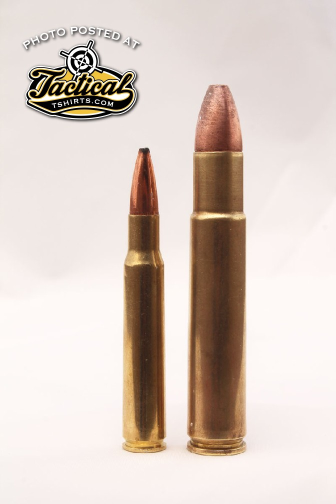 The .30-'06 Springfield (left) is dwarfed by the .505 Gibbs (right).