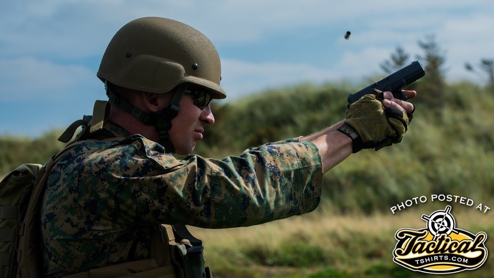 US Marine Shooting Team member firing a Glock in the UK.