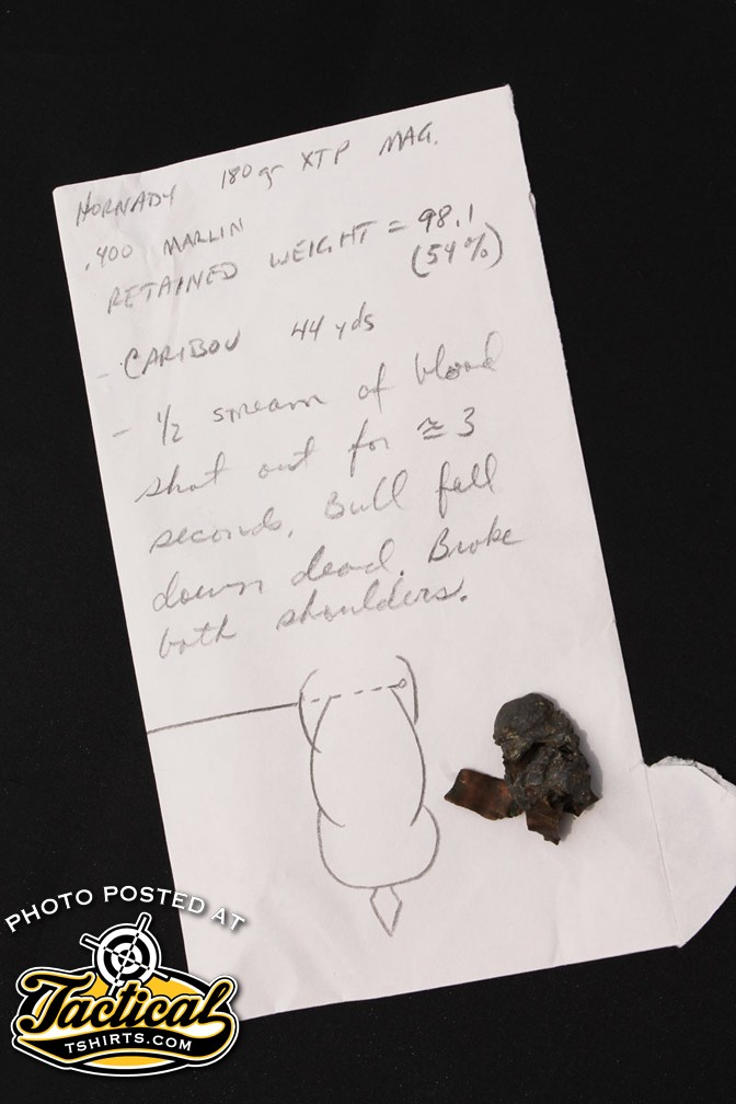 Though designed as a pistol bullet, Scott's notes show this Hornady XTP Mag broke both shoulders of a bull caribou when fired from his .400 Marlin wildcat.