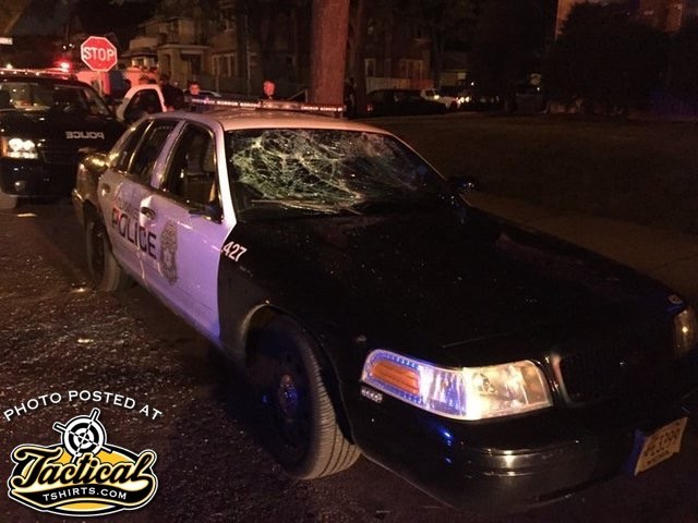 Police car destroyed by BLM Riots.