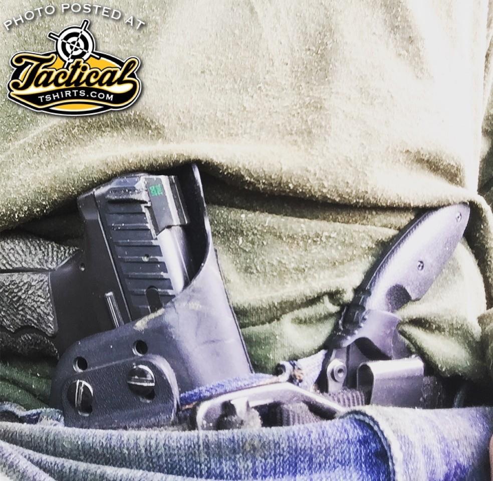 CCW isn't easy: Gun, Knife, Reload, flashlight, keys, wallet, smart-phone.