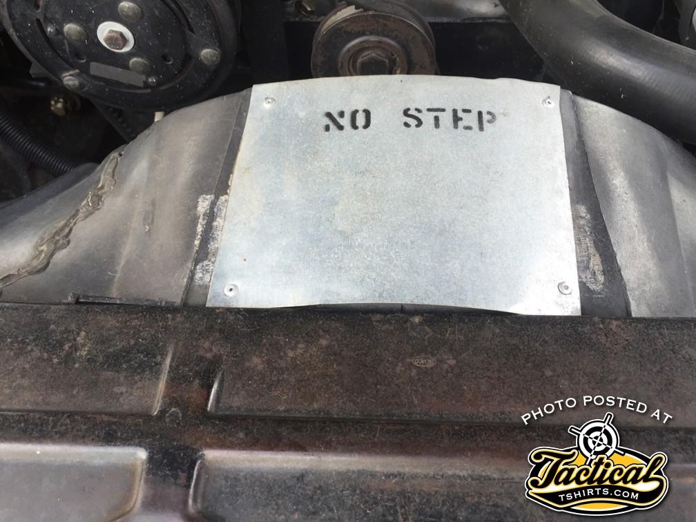 NO STEP Plate inside El Camino Engine Compartment.