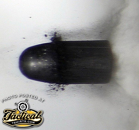 "in-flight: As you can see in this high-speed photo, the heel of the soft .22 Long Rifle bullet is ""bumped up"" during the pressure of firing to fill the bore."