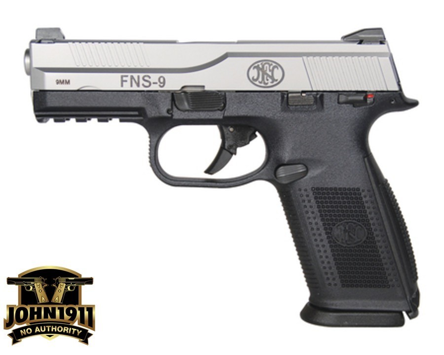 FNS9 Interesting pistol size wise. Glock 19 slide. Full Sized Grip.
