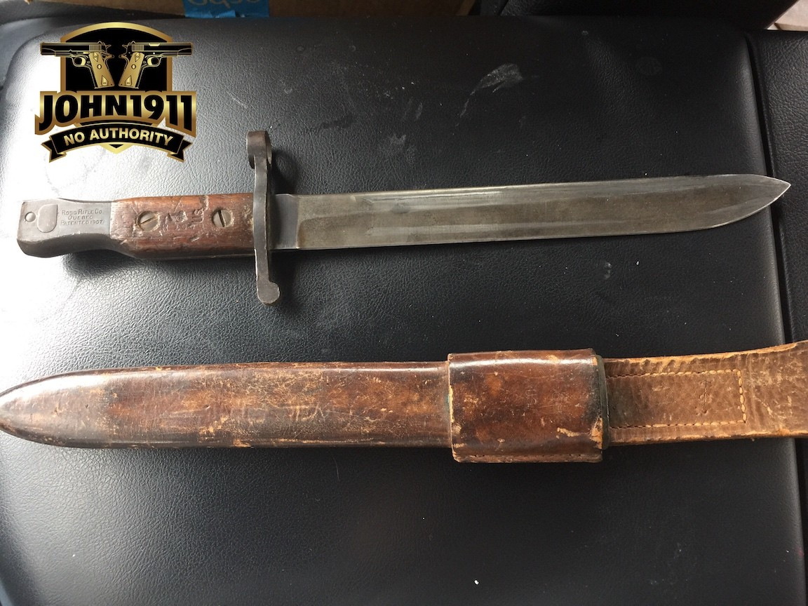 US Marked Ross Rifle Bayonet with scabbard.