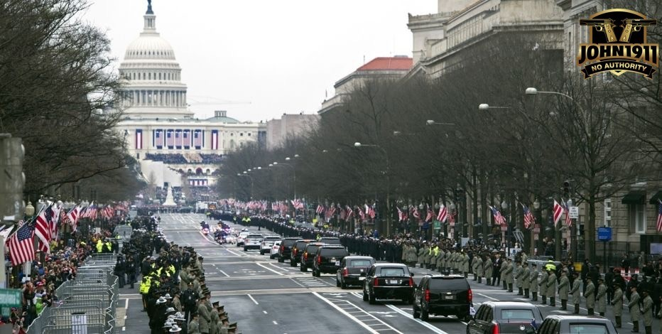 Presidential motorcade headed to capitol hill.