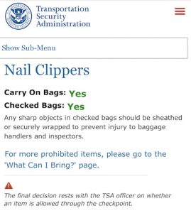 TSA Clipper regulations.