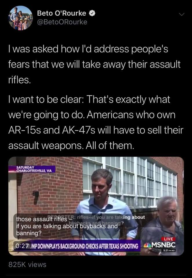 BETO O'Rourke Gun Ban