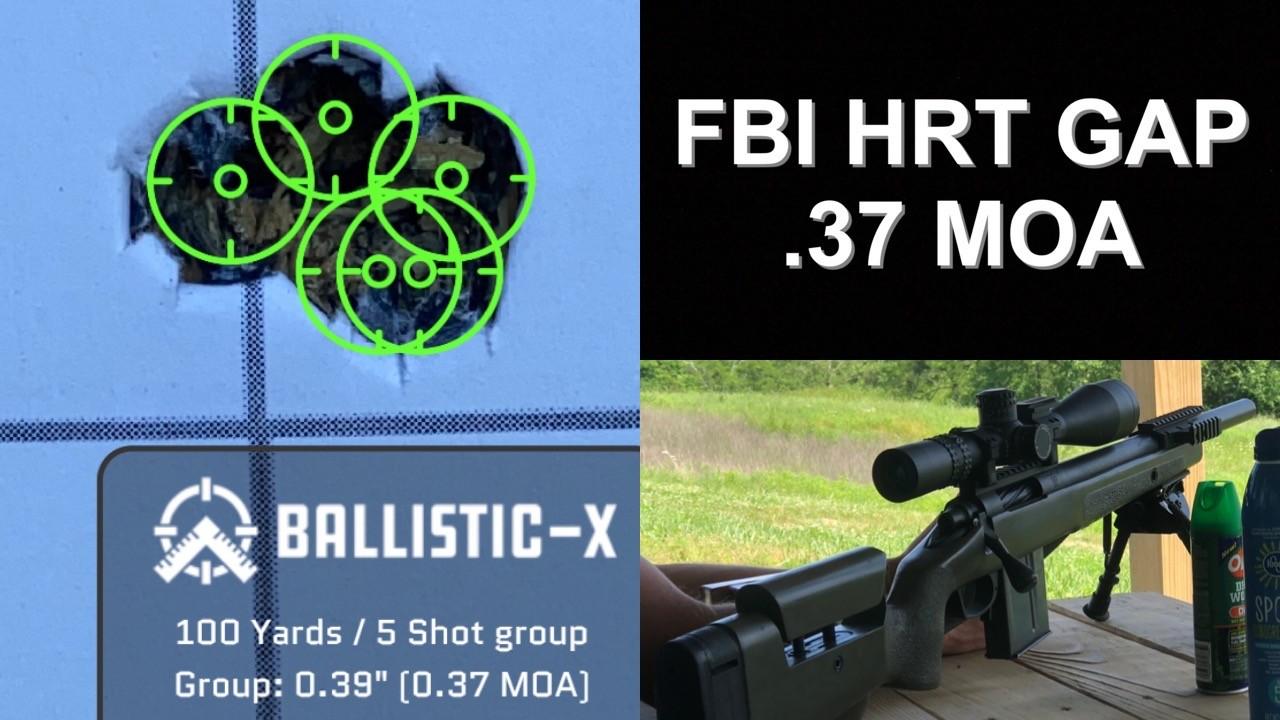 FBI HRT Rifle Made by GAP. .37 MOA. 100 yards. 5 Shot Group.