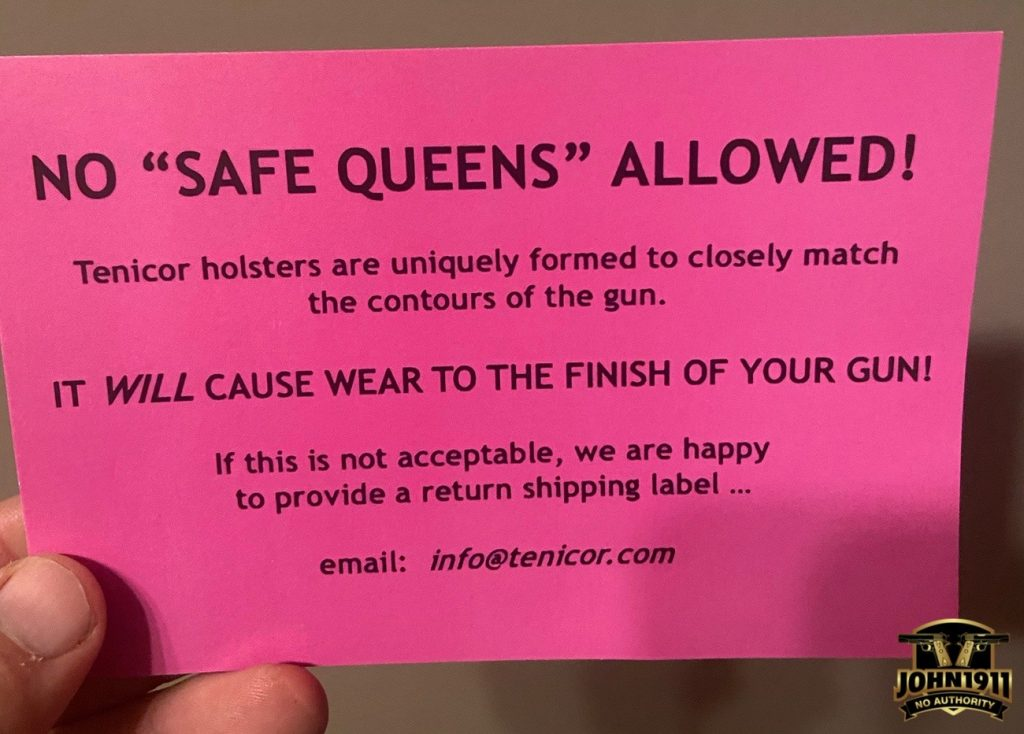 Tenicor's Holster Wear policy