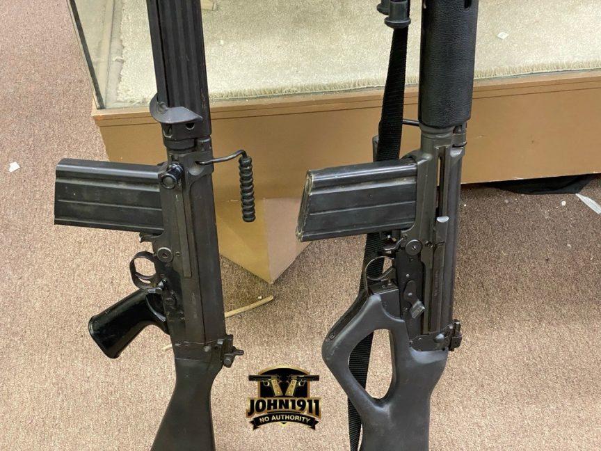FAL Rifles. STG58. FAL rifle with thumbhole stock.