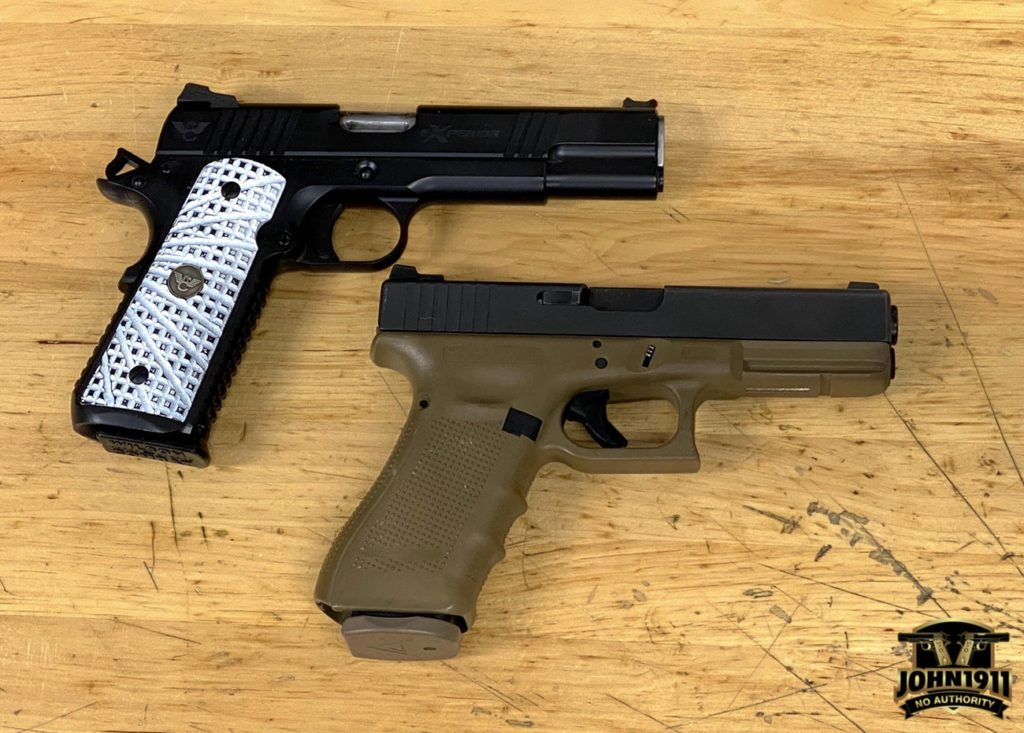 Glock 17 & 1911. Service pistols.